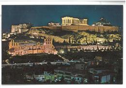 Grecia Hellas Greece Athens Acropolis By Night Non Viaggiata Condizioni Come Da Scansione - Grecia