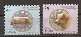 SERBIA 2019,LUNAR HOROSCOPE,CHINESE NEW YEAR,YER OF TTHE PIG,MNH - Astrology