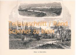 476 Püttner Villach Beljak Villaco 2 Ansichten Kunstblatt 32 X 22 Cm Ca.1880 !! - Stampe