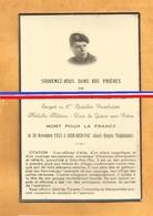 FAIRE PART AVIS DECES  MILITAIRE INDOCHINE PARACHUTISTE VI PARA DIEN BIEN PHU 1953 SERGENT 6 EME BATAILLON PARACHUTISTES - Documents