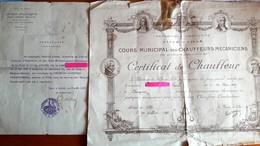 CERTIFICAT DE CHAUFFEUR-MECANICIEN - ECOLE PRATIQUE D'INDUSTRIE BAGGIO à LILLE 1931/32 -DARGNIES-MARCQ EN BAROEUL  2Docs - Diplômes & Bulletins Scolaires