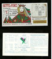 Gratta E Vinci - Sette E Vinci - Lotto 62 - Biglietti Della Lotteria