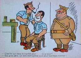 Cpa Humour, BARBIER à L'Armée, TARIFS , Mousse, Blaireau Signée LUC CYL,   COMIC  BARBER FOR FAT SOLDIER A/s - Humoristiques