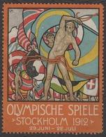 Stockholm 1912 Summer Olympics Olympic Games FLAG Flags LABEL CINDERELLA VIGNETTE - GERMANY - MH Window Damage - Sommer 1912: Stockholm