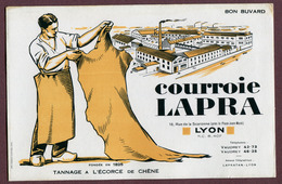 """BUVARD  : """" COURROIE LAPRA à LYON """"  CUIR - Blotters"""