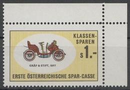 Gräf & Stift Oldtimer Oldsmobile Auto Veteran Car Automobile AUSTRIA Erste Bank Sparkasse Tax LABEL CINDERELLA VIGNETTE - Coches
