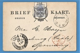 Orange Free State 1892 1½d On 3d Postcard JACOBSDAL To Germany. - Stato Libero Dell'Orange (1868-1909)