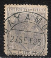 Puerto Rico 1881 Alfonso XII 5 Penny Pale Grey   Nice Cancellation Bayamon  Light Problem Of Serration - Puerto Rico