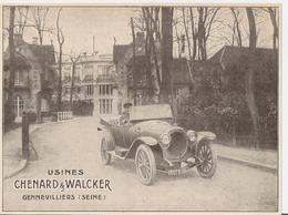 Publicité Automobiles Chenard Et Walcker Parue Dans L'Illustration De 1913 (découpé Dans La Revue) - Advertising