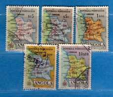(Us.3) ANGOLA -° 1955 - Cartes De La Province, Yvert  381-383-384-386-387. Used . Vedi Descrizione - Angola