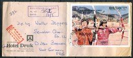 4652 - BHUTAN - R-Brief Mit Olympia-Block (Bogenschießen, Archery) Von Puntsholing Nach Bremen - Bhutan