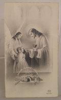 JHS Panis Angelorum Gesù Comunione Eucarestia EB 788  SANTINO Bordo Oro - Devotion Images