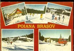 Romania, Postcard, Stationery, Code 2554-76, Poiana Brasov, Views, Used 1977, Ice Hockey - Hockey (sur Glace)