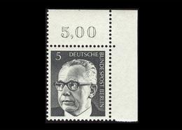 Berlin 1970, Michel-Nr. 359, Freimarken Bundespräsident Dr. Gustav Heinemann, 5 Pf., Eckrand Oben Rechts, Postfrisch - Ungebraucht