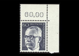 Berlin 1971, Michel-Nr. 394, Freimarken Bundespräsident Dr. Gustav Heinemann, 60 Pf., Eckrand Oben Rechts, Postfrisch - Ungebraucht