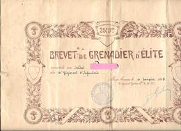 BREVET De GRENADIER D'ELITE Du 16e R.I.  -   25e Division - Daté 6 Janvier 1918  Général GRATIER WW1 -POILU Guerre 14/18 - 1914-18