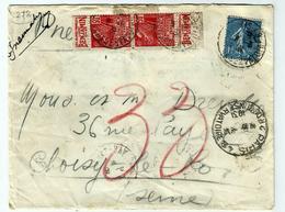 PARIS Oblit:8.06.1931 - Sur 272 - Yvert Type Femme Facchi Et 205 Semeuse - Surcharge - Storia Postale