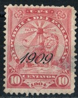 Paraguay 1909 Overprint Coat Of Arms 10c Red    Light Thinning - Paraguay