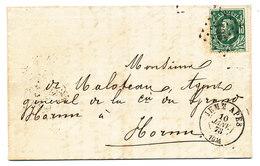 1873 BRIEF MET COB 30 V. JEMM APES N.HORNU(aankomst:St GHISLAIN) Zie Scan(s) - 1869-1883 Léopold II