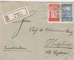 Suisse Lettre Recommandée Luzern 1924 - Marcofilie