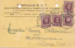 """Belgique N°195 15c X 4 Perforé De La Compagnie BDT TOURNAI Obl """" VAULX 1/3/26 Sur CP Au TARIF ETRANGER à 60c - Perfins"""