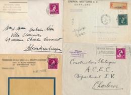Belgique Ensemble De 8 Lettres Avec Timbres -10% Dont 5f Sur Lettre Recommandée - 1946 -10%