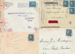 Belgique Ensemble De 8 Lettres CENSURÉES Pour L'ETRANGER - EXPRESS - RECOMMANDÉ - CENSURE CHIMIQUE LEOPOLD III Poortman - Guerra 40 – 45