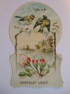 B0082e - Découpi CHOCOLAT LOUIT FRERES BORDEAUX - PAYSAGE DE NEIGE AVEC OISEAUX ET FLEURS - Victorian Die-cuts