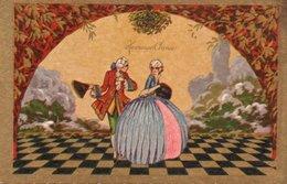 95Pp  Art Nouveau Déco Couple Sur échiquier Doré - 1900-1949