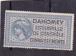 Timbre Fiscal Dahomey Médaillon De Tasset Grand Format Connaissements - Dahomey (1899-1944)