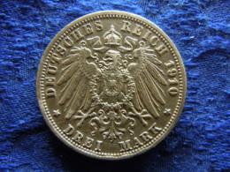 GERMANY PREUSSEN 3 MARK 1910, KM527 Scratched - 2, 3 & 5 Mark Silber