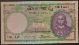 Nota Portugal - Banknote Portugal - 20 Escudos 28 Janeiro 1941 - D. Antonio Luiz De Meneses - MBC Rare Date - Portugal
