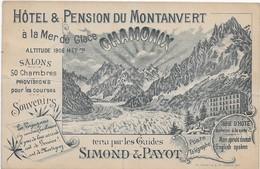 Hotel Et Pension Du Montanvert Simond Et Payo (2 Plies Croises Peu Visible Au Recto) - Chamonix-Mont-Blanc