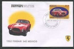 FDC FERRARI - BUSTA UFFICIALE - 1952 FERRARI 340 MEXICO - BEQUIA - 422 - Automobili
