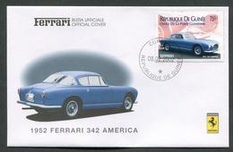 FDC FERRARI - BUSTA UFFICIALE - 1952 FERRARI 342 AMERICA - REPUBLIQUE DE GUINEE - 423 - Automobili
