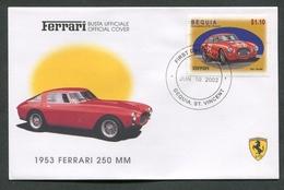 FDC FERRARI - BUSTA UFFICIALE - 1952 FERRARI 250 MM - BEQUIA - 424 - Automobili