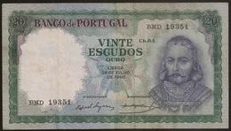 Nota Portugal - Banknote Portugal - 20 Escudos 26 Julho 1960 - D. Antonio Luiz De Meneses - MBC - Portugal