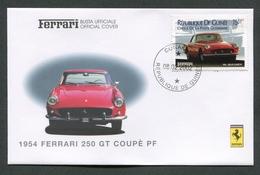 FDC FERRARI - BUSTA UFFICIALE - 1954 FERRARI 250 GT COUPE' PF - REPUBLIQUE DE GUINEE - 425 - Automobili