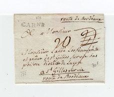 Sur Partie De Lettre Marque Linéaire Carne. Taxe Manuscrite 20. Destination: St Gilles Sur Vie. C. De Cire. (2253x) - Postmark Collection (Covers)