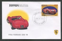 FDC FERRARI - BUSTA UFFICIALE - 1956 FERRARI 500 TR - BEQUIA - 426 - Automobili