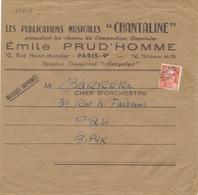 PREO GANDON N°103 12f SEUL Sur IMPRIMÉ MUSICAL  De PARIS 9ème Au Tarif IMPRIMÉS EN NOMBRE 3ème Echelon ( 50 à 100 G ) - Préoblitérés