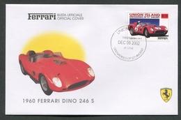 FDC FERRARI - BUSTA UFFICIALE - 1960 FERRARI DINO 246 S - UNION ISLAND - 427 - Automobili