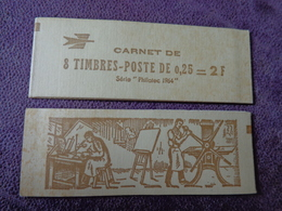 Carnet Complet Fermé 8 Timbres  Coq DECARIS  Philatec 1964 ENCRE MARRON - Nuovi