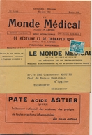 """PREO GANDON N°101 8f Sur BANDE DE LA REVUE """" LE MONDE MEDICAL """" Datée De Mai-Juin 1951 - Pour TANANARIVE MADAGASCAR ! - - 1893-1947"""