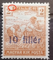 HARVESTERS-2 FILL-OVERPRINT 10 FILLER - ERROR - HUNGARY - 1919 - Ortsausgaben