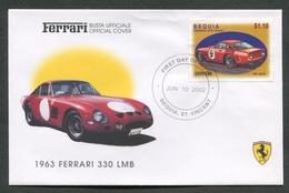 FDC FERRARI - BUSTA UFFICIALE - 1963 FERRARI 330 LMB - BEQUIA - 429 - Automobili