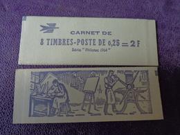 Carnet Complet Fermé 8 Timbres  Coq DECARIS 0.25  2 F  Philatec 1964 ENCRE VERT VIOLETTE - Nuovi