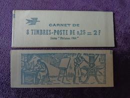 Carnet Complet Fermé 8 Timbres  Coq DECARIS 0.25  2 F  Philatec 1964 ENCRE BLEUE - Nuovi