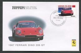 FDC FERRARI - BUSTA UFFICIALE - 1967 FERRARI DINO 206 GT - UNION ISLAND - 431 - Automobili