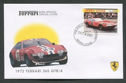 FDC FERRARI - BUSTA UFFICIALE - 1972 FERRARI 365 GTB/4 - SIERRA LEONE - 432 - Automobili